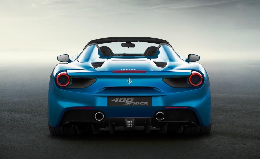 2016 Blue Ferrari 488 Spider Rear View