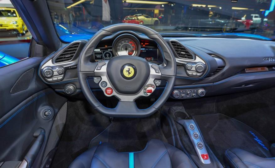 2016 Blue Ferrari 488 Spider Interior Front View Steering & Dash