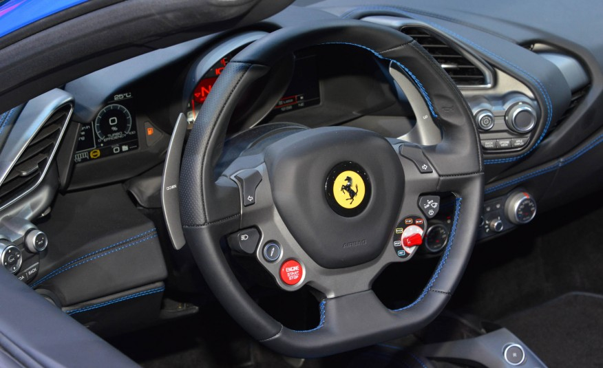 2016 Blue Ferrari 488 Spider Steering Closeup