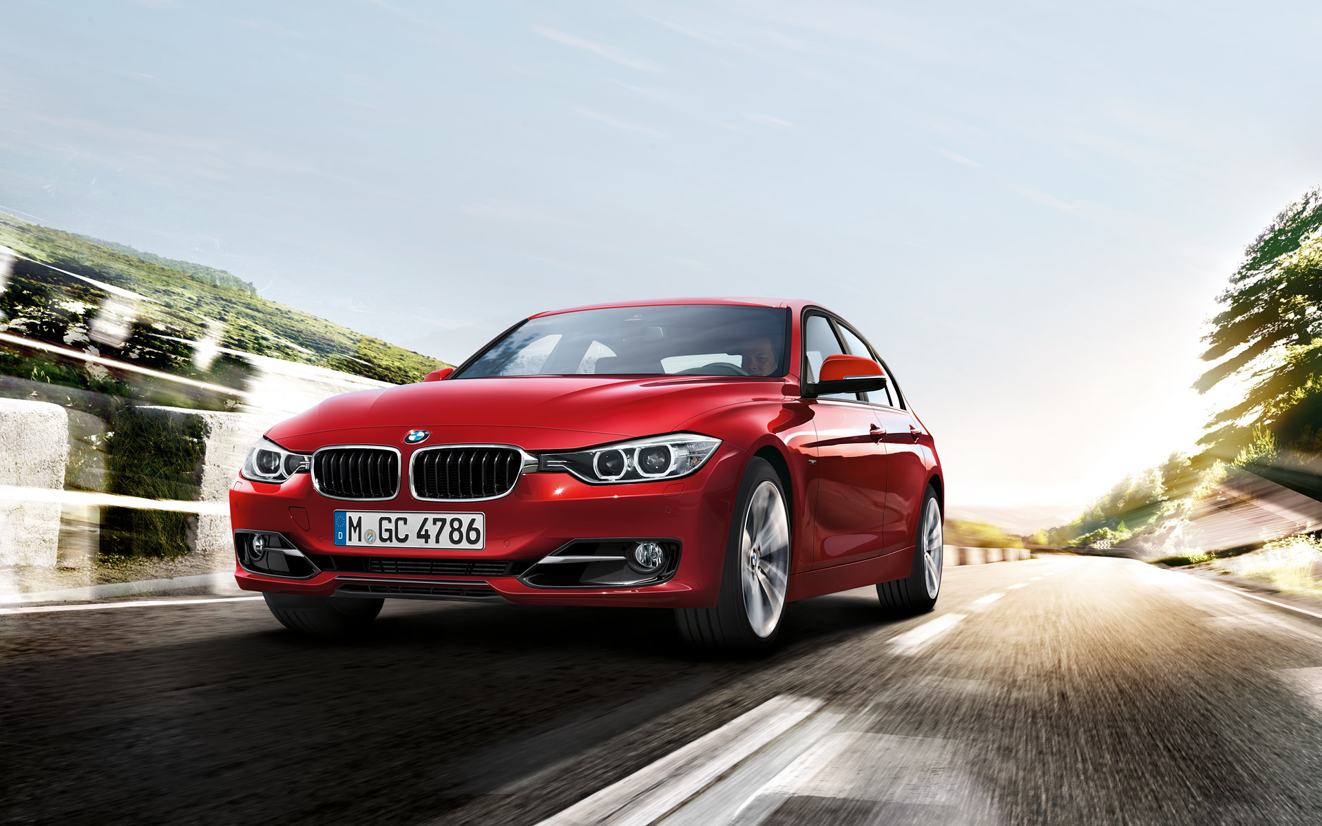 BMW 3 Series In Red Front View Wallpaper