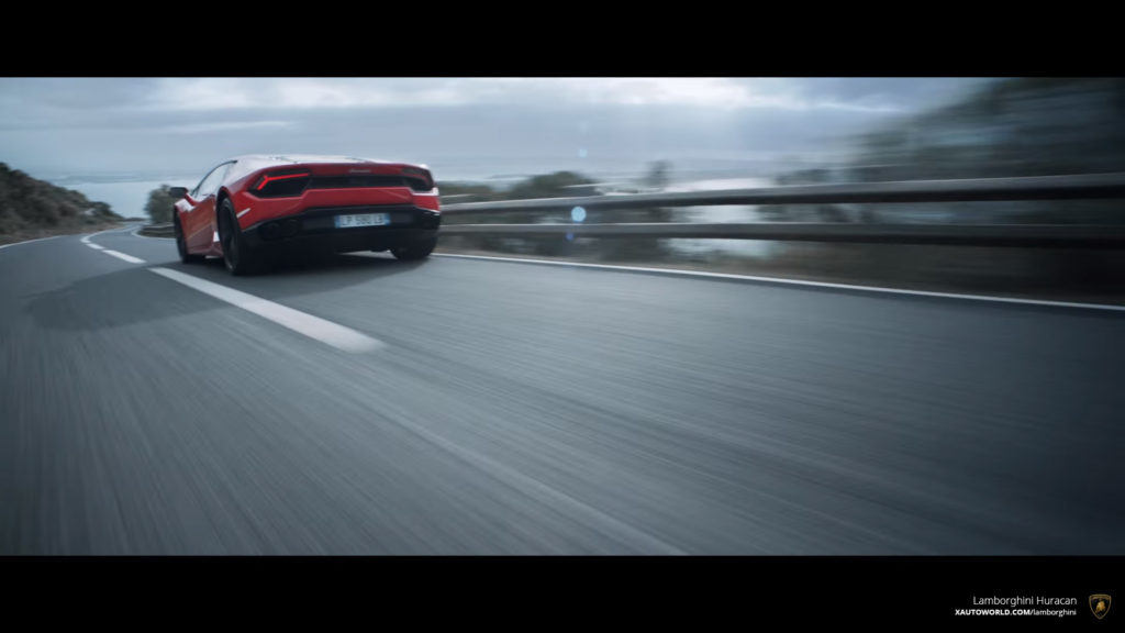 RWD Huracan Rear View While Racing