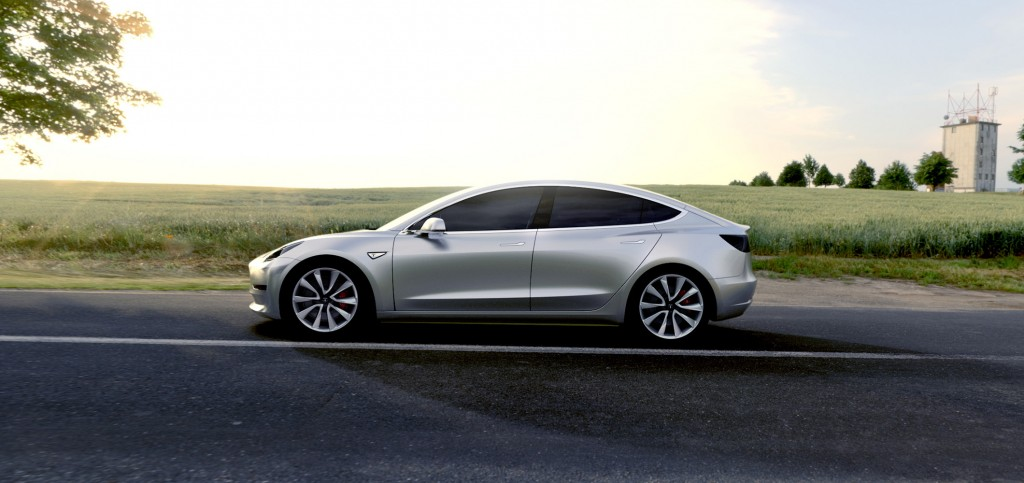 Tesla Model 3 Side View Silver Color