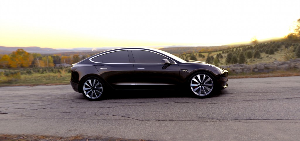 Tesla Model 3 Side View Black Color