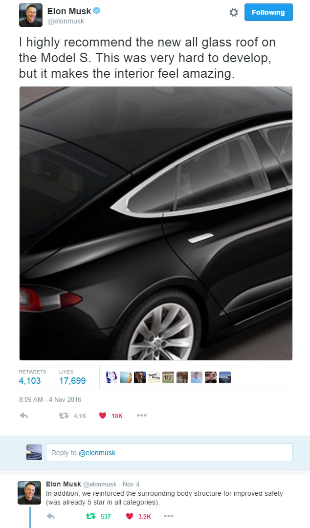 Elon Tweets about Model S Glass Roof