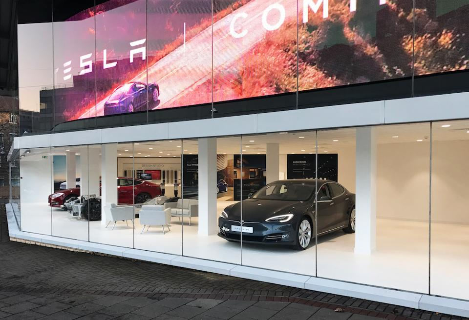 Tesla Model S standing in Chiswick London Showroom