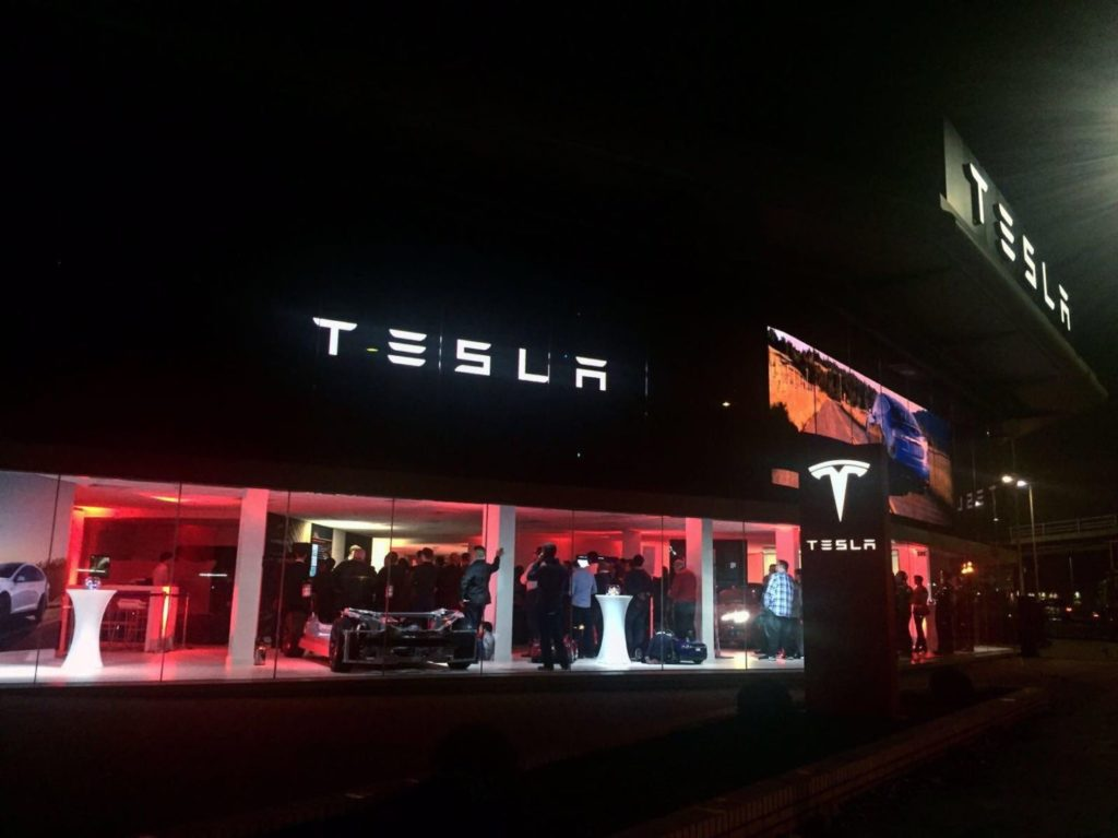 Tesla Showroom Chiswick London at night !