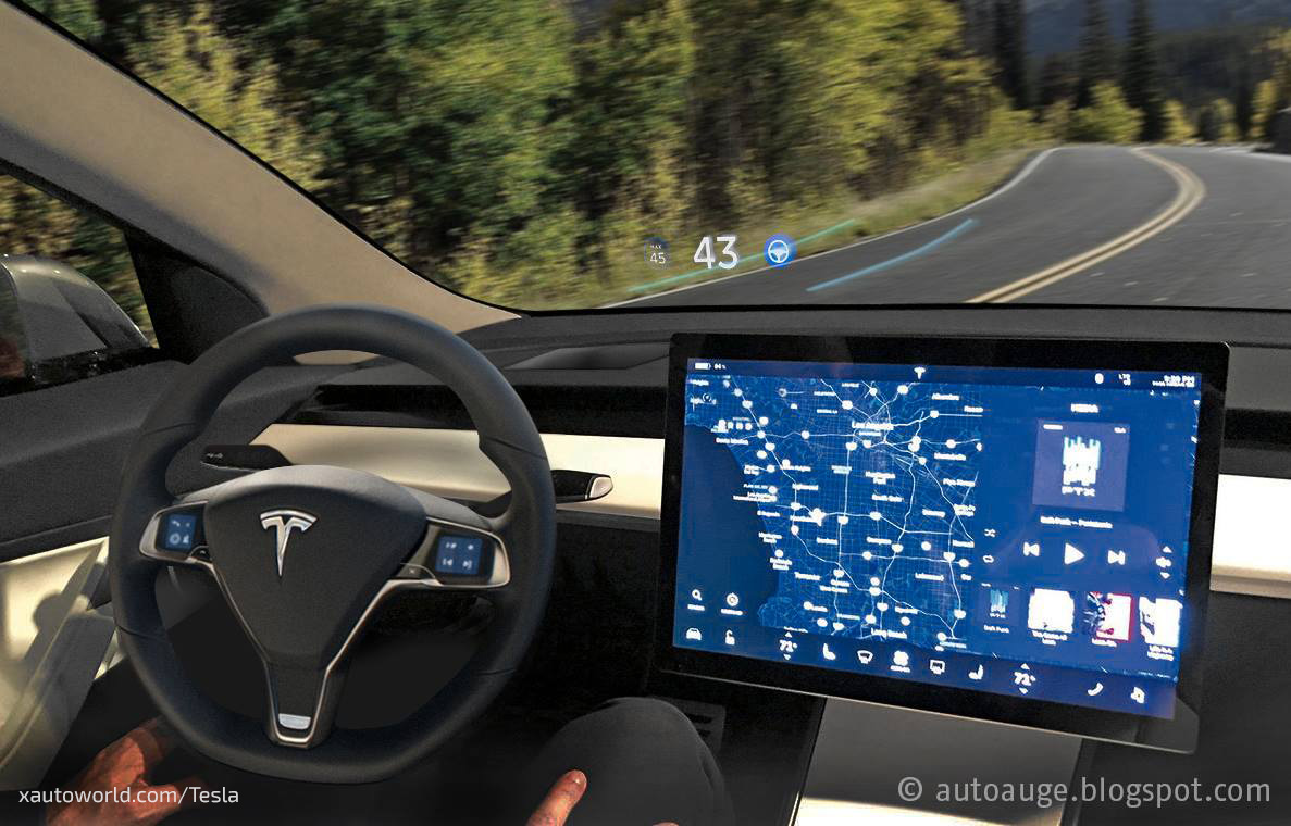 Problem solved tesla model 3 proposed hud mock up with for Tesla model 3 interieur
