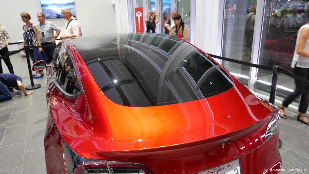 Model 3 Prototype In Orange At Gigafactory