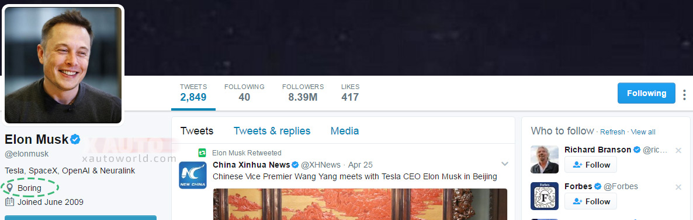 Elon Musk Twitter location as 'Boring'