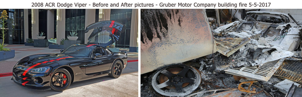 Dodge Viper before and after the fire at Gruber Motor Company