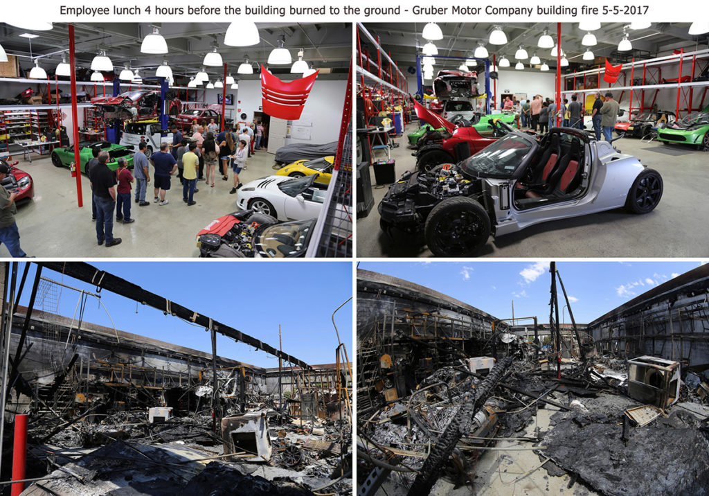 Employee party before and after the fire at Gruber Motor Company