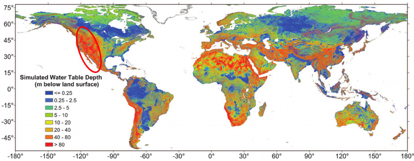 Simulated Water Table Depth Globally