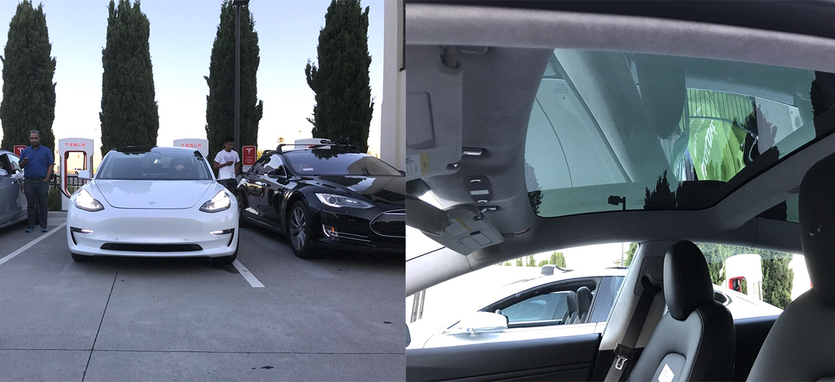 White Tesla Model 3 spotted with close views of glass roof interior and center display