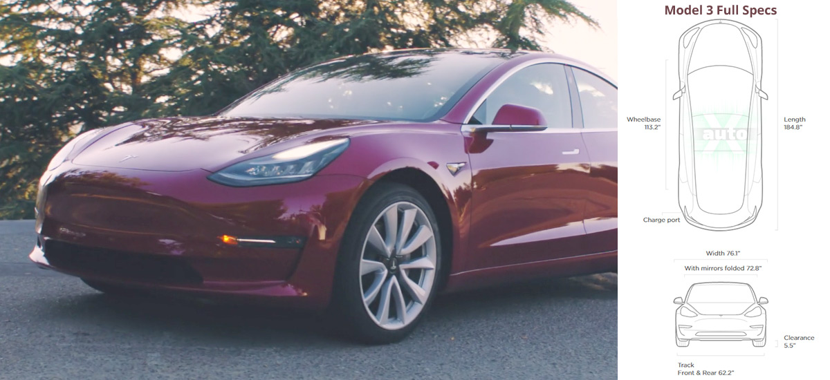 Tesla Model 3 full specifications and options