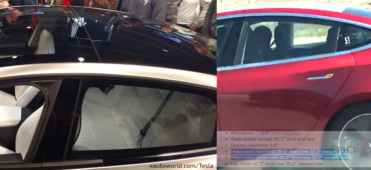 Tesla Model 3 Standard Roof and Glass Roof