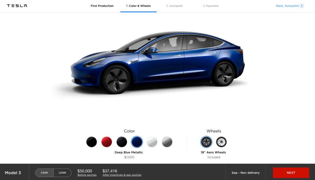 "Tesla Model 3 Configurator - Blue with 18"" Aero Wheels"