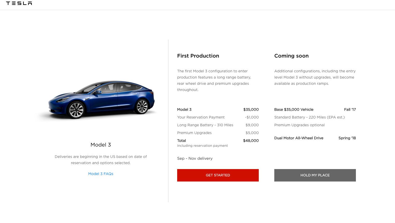 Model 3 Configurator - Get Started