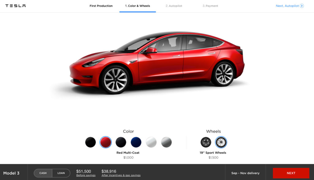 "Tesla Model 3 Configurator - Red with 19"" Sport Wheels"