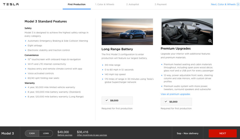 Model 3 Configurator - Select Main Features