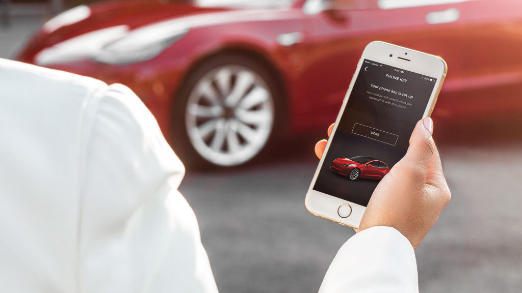 Tesla App paired with Model 3 to use as a key
