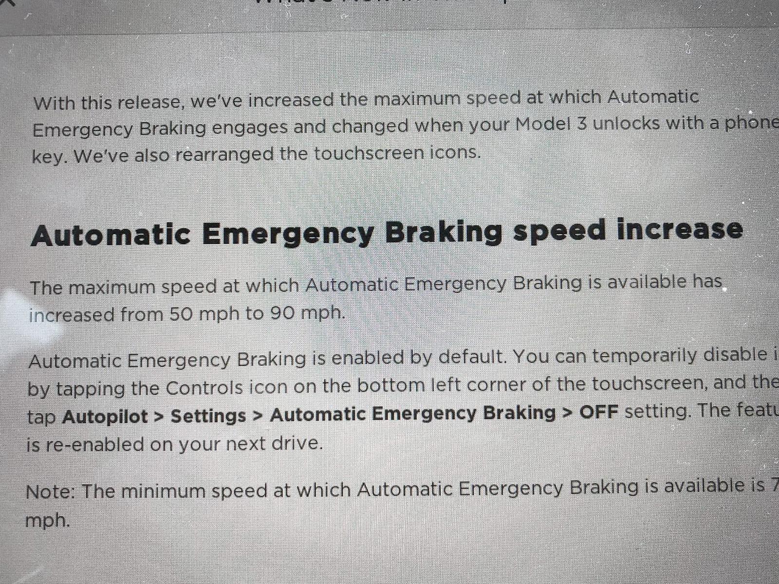 Tesla Model 3 - Automatic Emergency Braking Increased to 90 mph