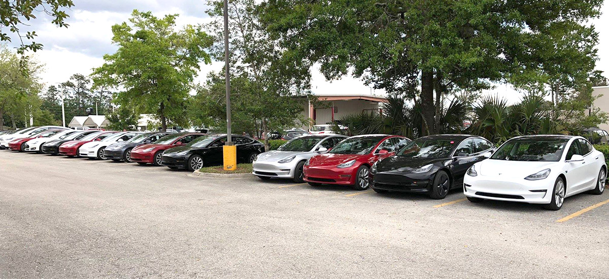 Fleet of Tesla Model 3 ready for delivery at Jacksonville Florida store