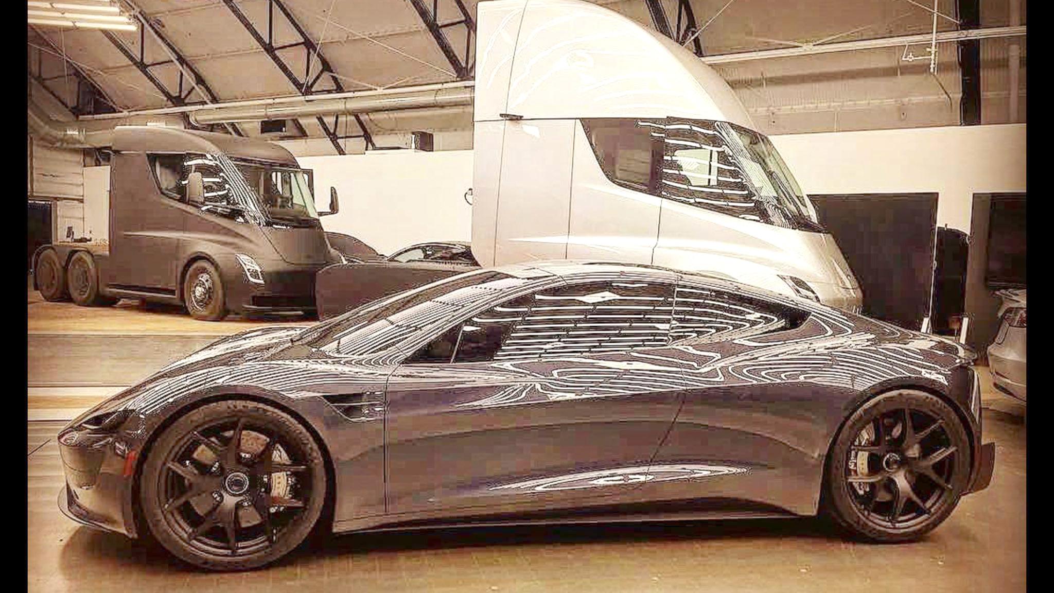2019 Tesla Roadster leaked photo along with Tesla Semi trucks