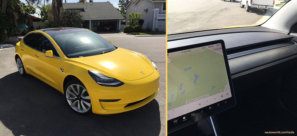 Yellow Tesla Model 3 - Tinted Windows and Carbon Fiber Dashboard