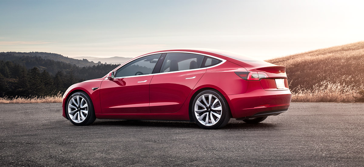 Tesla Model 3 - Rear View of Red
