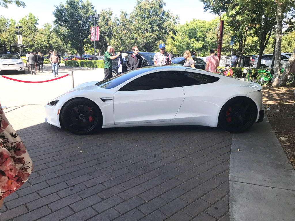White Tesla Roadster Prototype at the 2018 Tesla Shareholder Meeting - Side View
