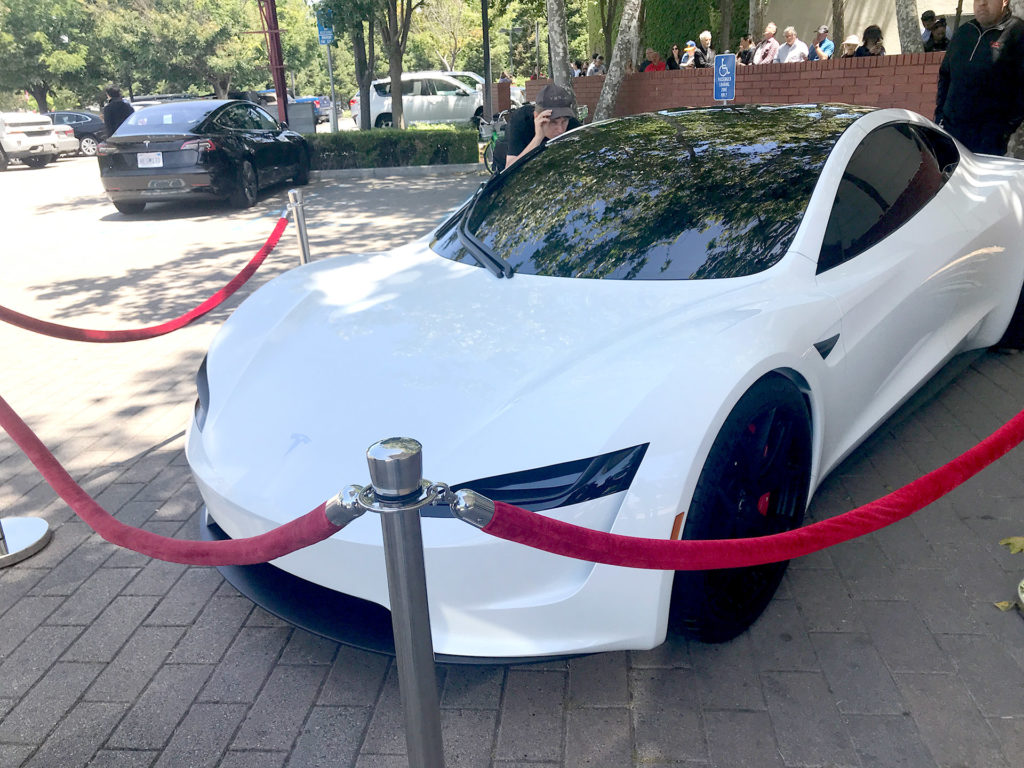 White Tesla Roadster Prototype at the 2018 Tesla Shareholder Meeting - Front View