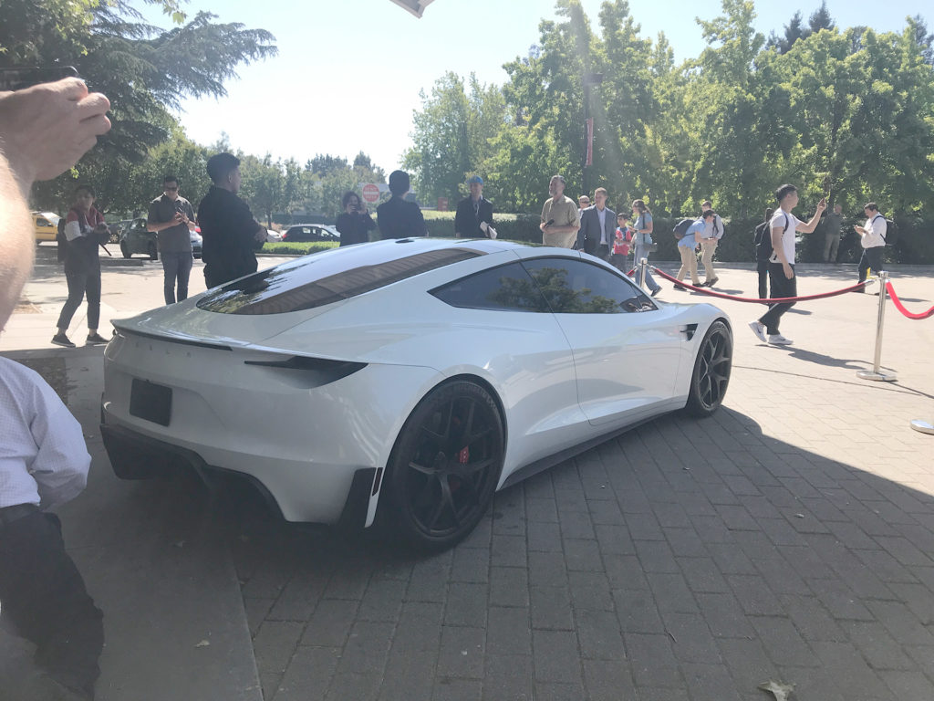 White Tesla Roadster Prototype at the 2018 Tesla Shareholder Meeting