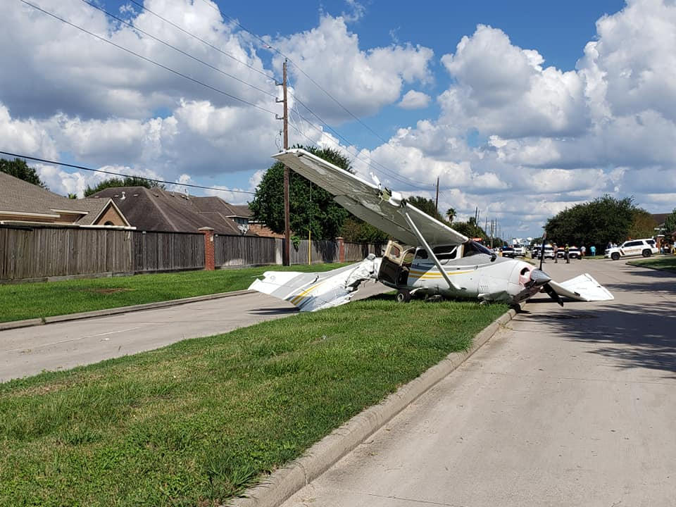 Cessna 206 aircraft after crashing in to a Tesla Model X