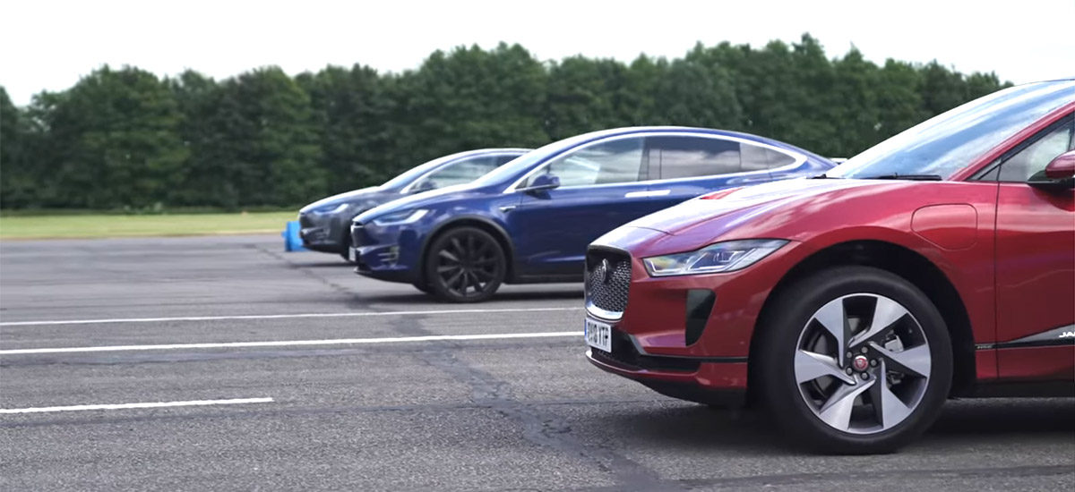 Drag Race: Jaguar I-Pace vs Tesla Model X 100D vs Tesla Model X P100D