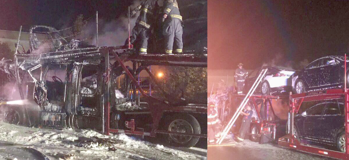 Tesla Model S burnt in semi trailer fire in Kansas City, MO