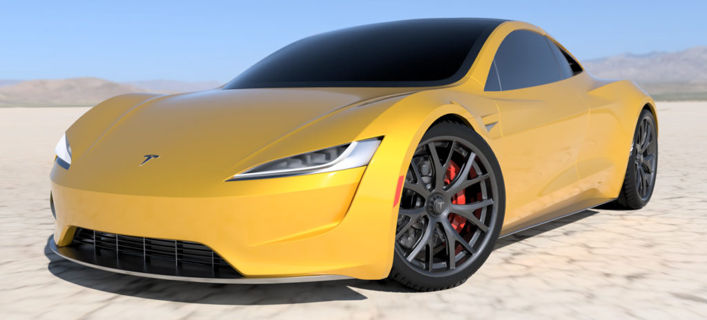 2020 Tesla Roadster Render in Yellow
