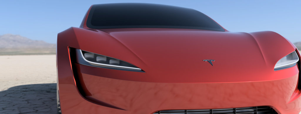 2020 Tesla Roadster Render in Red - Front View