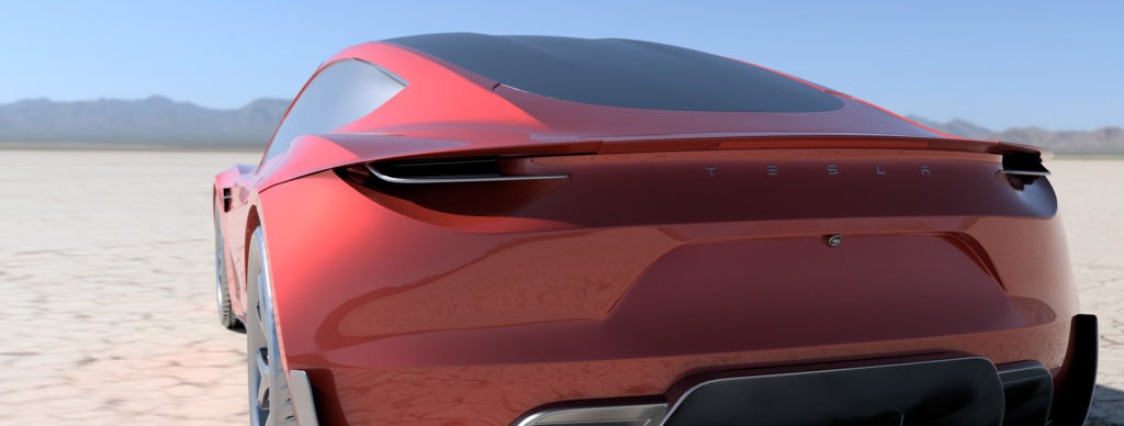 2020 Tesla Roadster Render in Red - Rear View