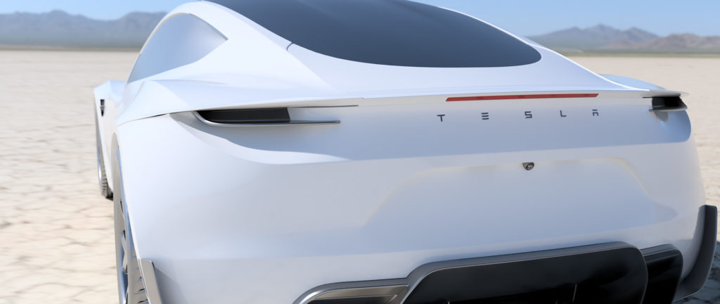 2020 Tesla Roadster Render in White - Rear View