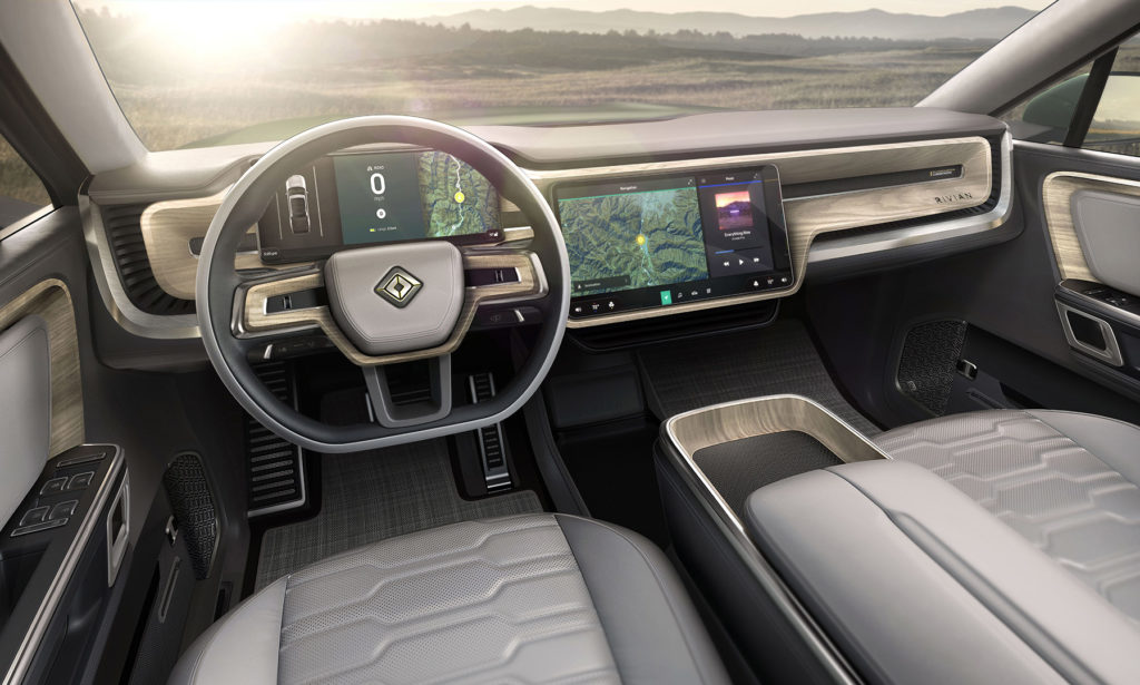 Rivian R1S - center touchscree, instrument panel and steering wheel.