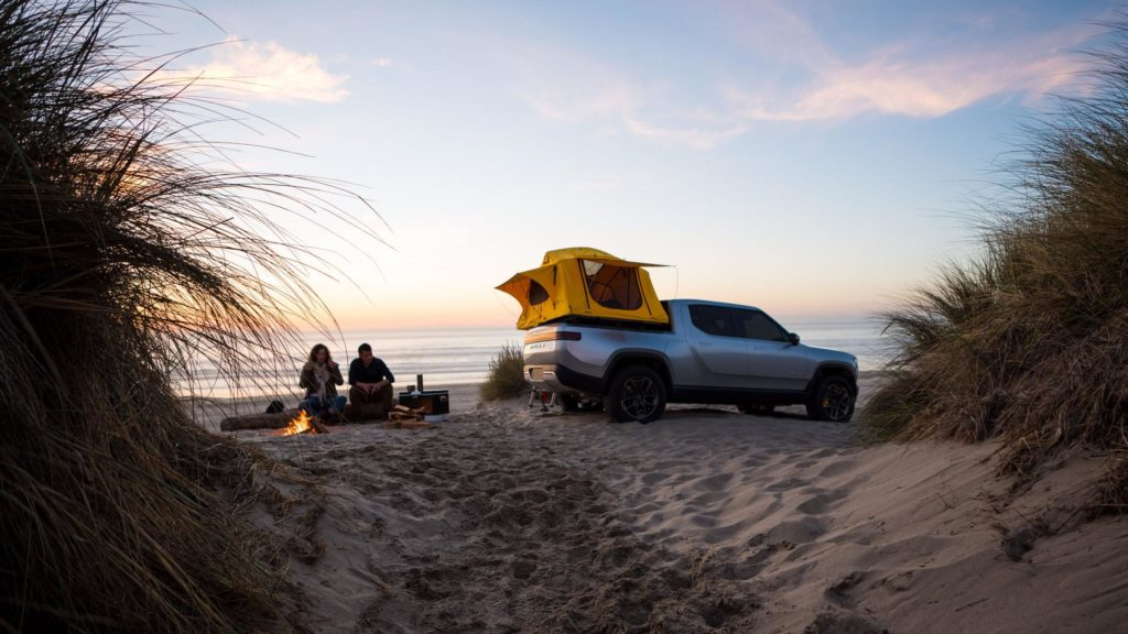 Rivian R1T electric pickup truck - camping