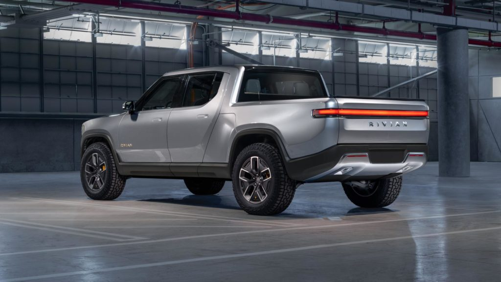 Rivian R1T electric pickup truck - rear view