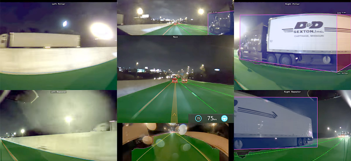 Watch how Tesla Autopilot V9's vision works at night
