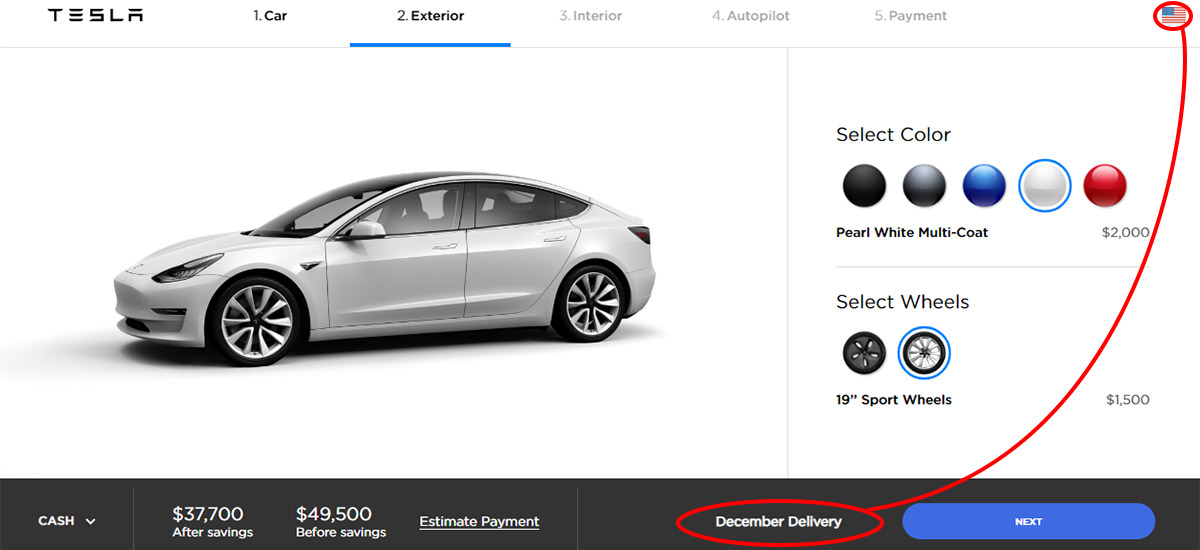 Tesla Model 3 United States orders to be delivered in December 2018