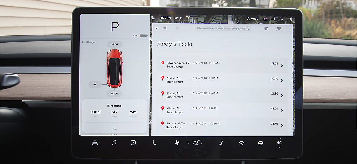 Tesla Model 3 road trip cost for 1,000 miles (~1610 kms)