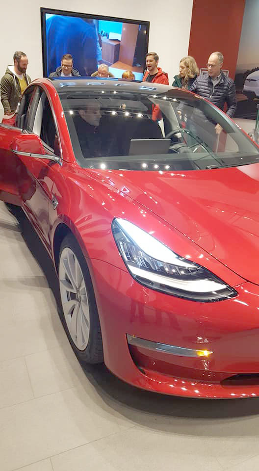 Tesla Model 3 Europe display at the Tesla Store in Hamburg, Germany