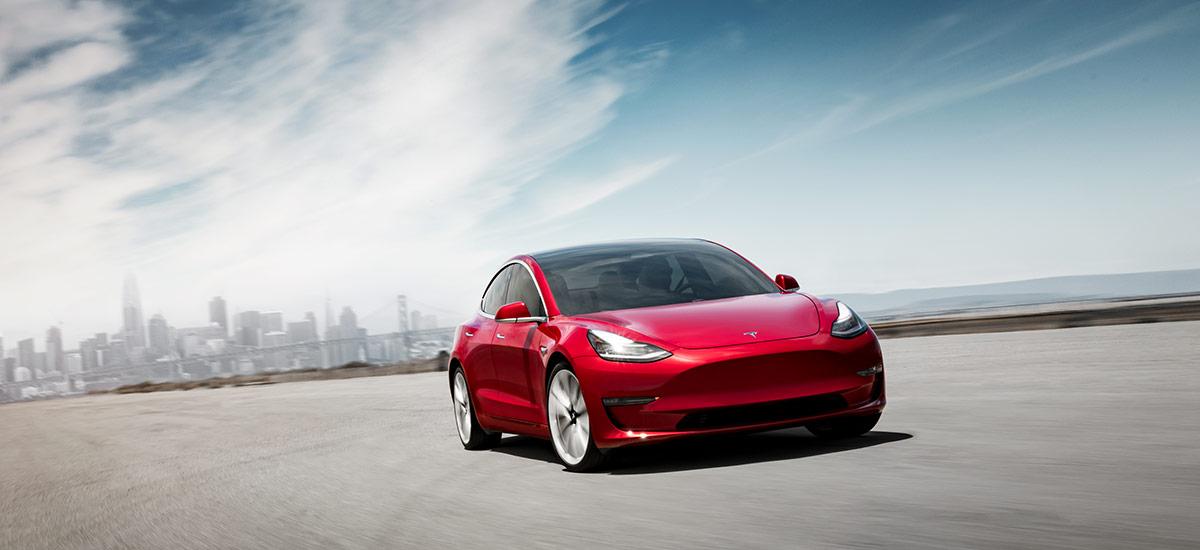 Tesla Model 3 Performance in Red - Front Shot