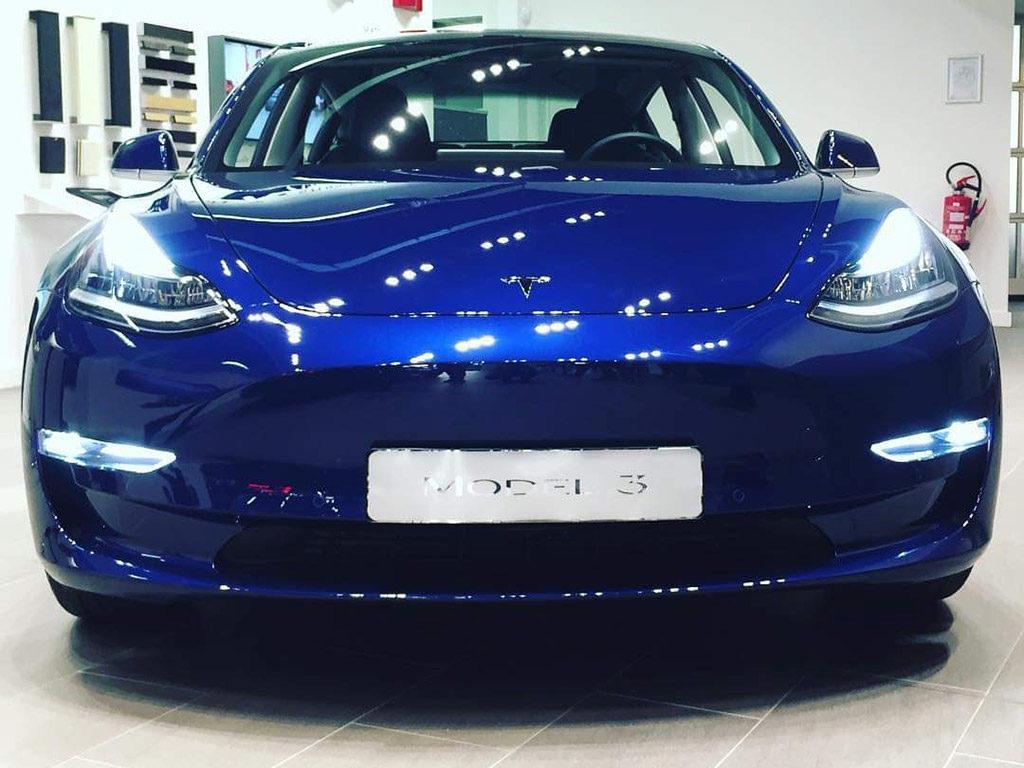 Tesla Model 3 at the Tesla Showroom in Zaventem, Belgium