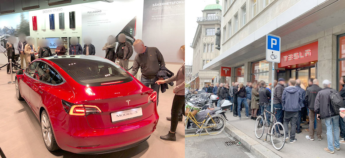 Tesla Model 3 reaches European Tesla Stores to a jam packed show [Galleries]