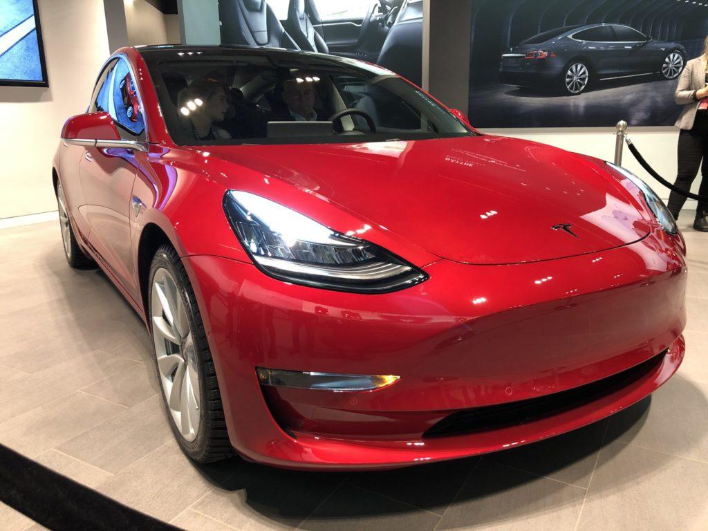 Tesla Model 3 on display in Sweden - Front View